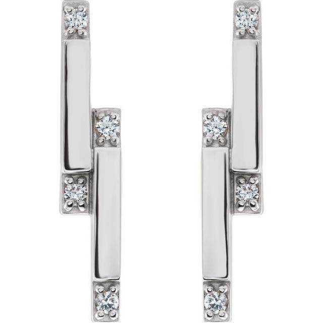 14K White 1/10 CTW Diamond Bar Earrings