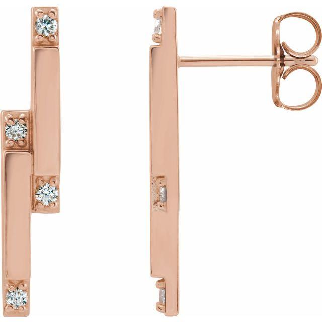 14K Rose 1/10 CTW Diamond Bar Earrings