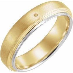 122265 / 14Kt Yellow/White / Mounting / 7 / Grooved Center Duo Band With Brush Finish On Edges