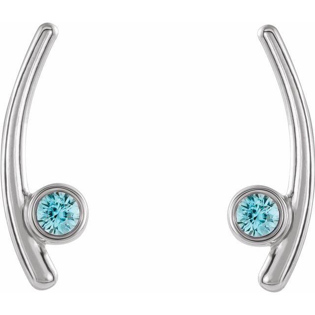 14K White Aquamarine Ear Climbers