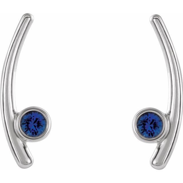 14K White Blue Sapphire Ear Climbers