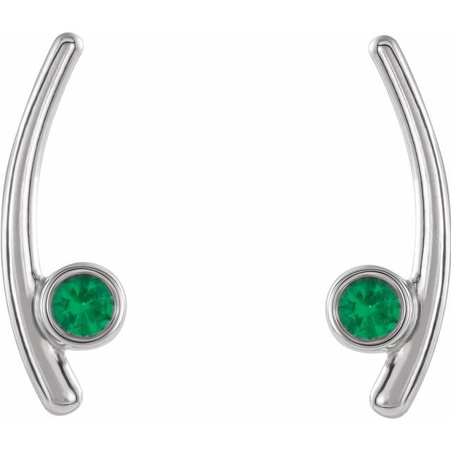 Sterling Silver Lab-Grown Emerald Ear Climbers