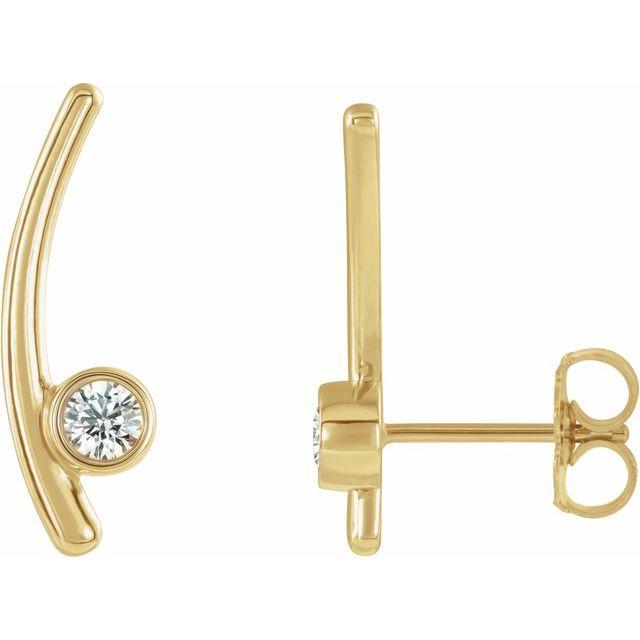 14K Yellow 1/5 CTW Diamond Ear Climbers