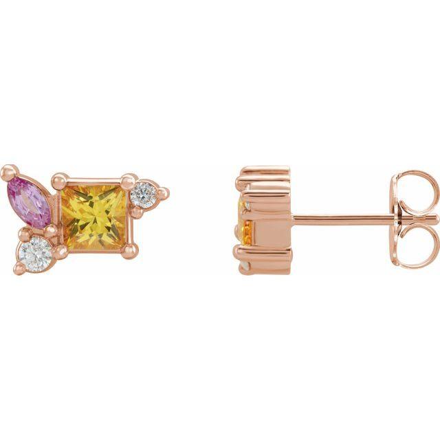 14K Rose Yellow Sapphire, Pink Sapphire, & 1/8 CTW Diamond Earrings