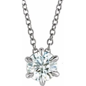 "14K White 3/8 CT Lab-Grown Diamond Solitaire 16-18"" Necklace"