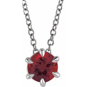 """Sterling Silver Round 4 mm Mozambique Garnet Solitaire 16-18"""" Necklace"""