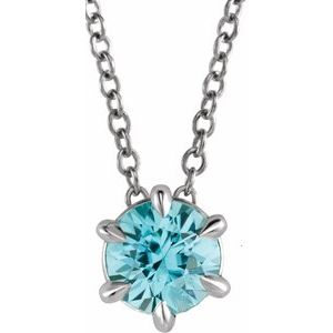 "14K White Blue Zircon Solitaire 16-18"" Necklace"