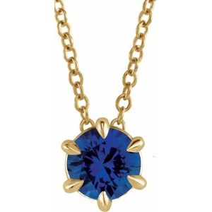 """14K Yellow Round 5 mm Blue Sapphire Solitaire 16-18"""" Necklace"""
