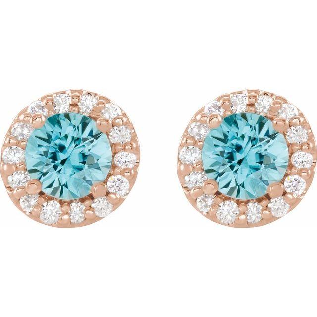 14K Rose 4 mm Natural Blue Zircon & 1/8 CTW Natural Diamond Earrings