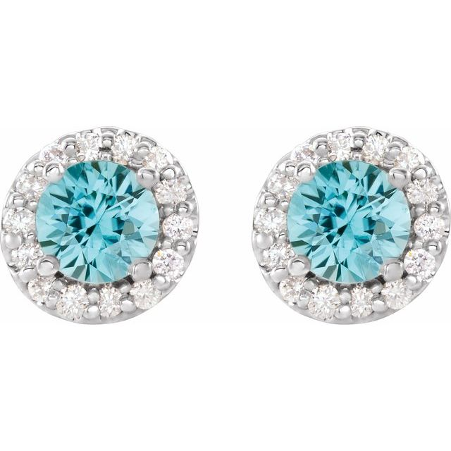 14K White 4 mm Round Blue Zircon & 1/8 Diamond Earrings