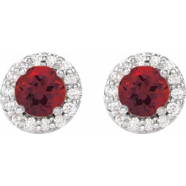 14K White 5 mm Round Mozambique Garnet & 1/4 Diamond Earrings