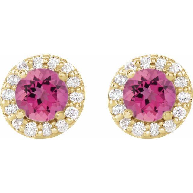 14K Yellow 4.5 mm Round Pink Tourmaline & 1/4 Diamond Earrings