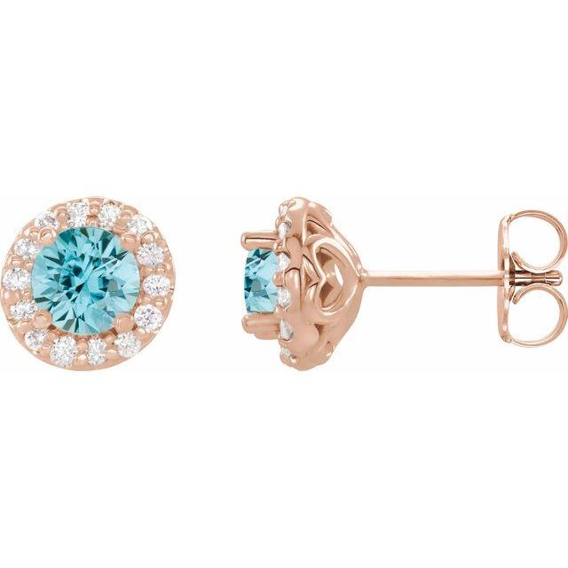 14K Rose 4 mm Round Blue Zircon & 1/8 Diamond Earrings