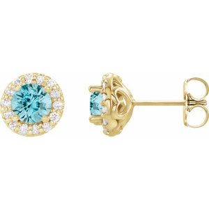 14K Yellow 4 mm Round Blue Zircon & 1/8 Diamond Earrings