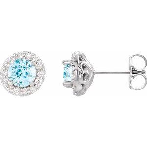 14K White 4 mm Round Aquamarine & 1/8 Diamond Earrings