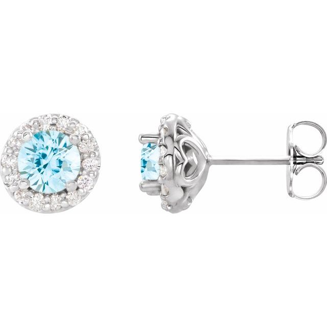 14K White 4 mm Natural Aquamarine & 1/8 CTW Natural Diamond Earrings