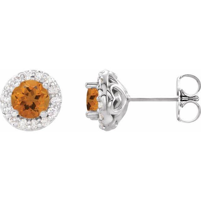 14K White Citrine & 1/6 CTW Diamond Earrings