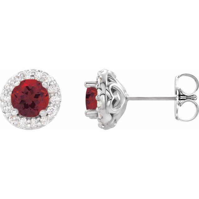 14K White 4 mm Round Mozambique Garnet & 1/8 Diamond Earrings