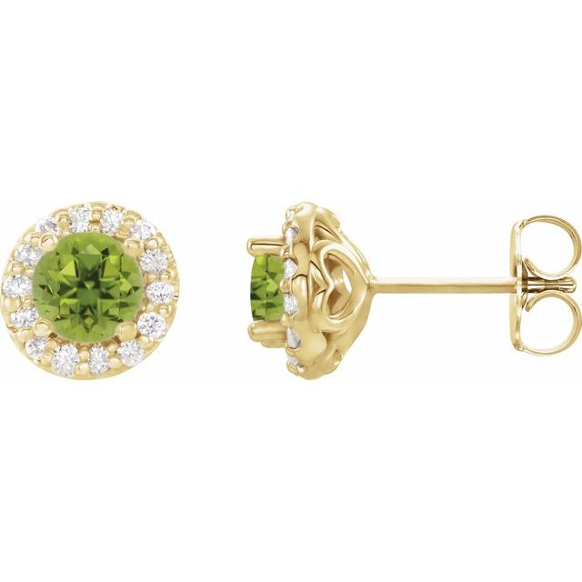 14K Yellow 4 mm Round Peridot & 1/8 Diamond Earrings