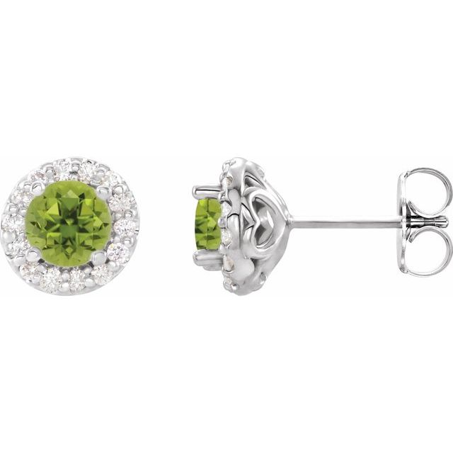 14K White 6 mm Round Peridot & 1/4 Diamond Earrings