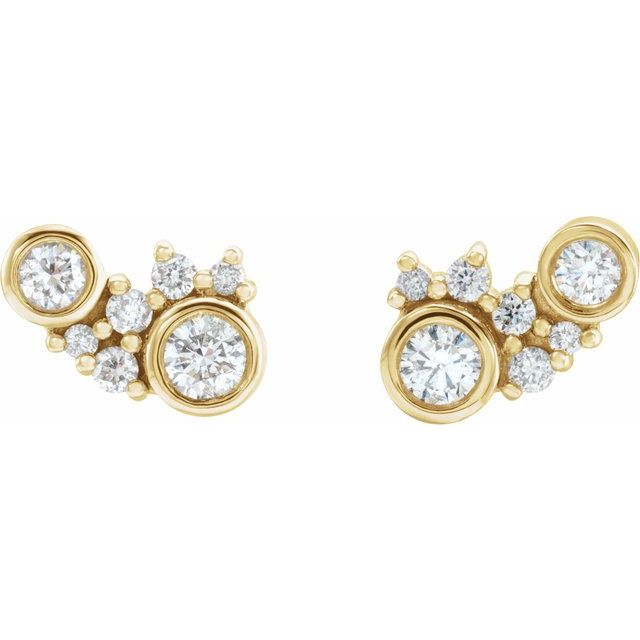 14K Yellow 1/4 CTW Diamond Scattered Bezel-Set Earrings