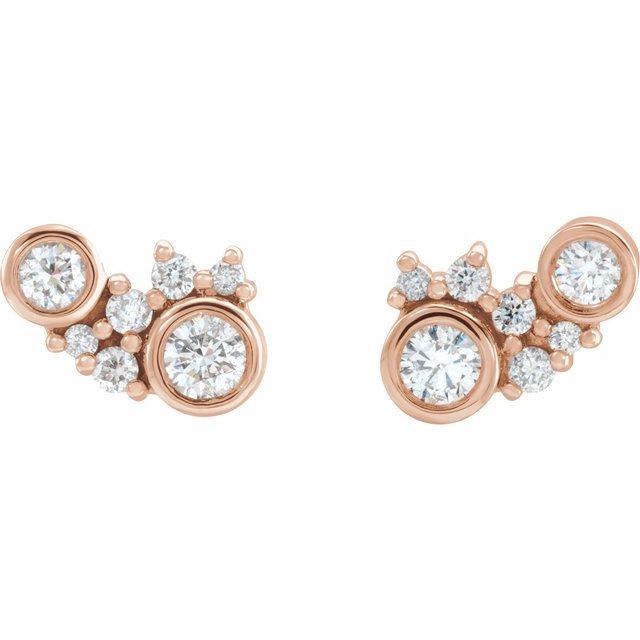14K Rose 1/4 CTW Diamond Scattered Bezel-Set Earrings