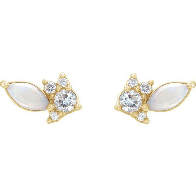 14K Yellow Australian Opal & 1/6 CTW Diamond Cluster Earrings