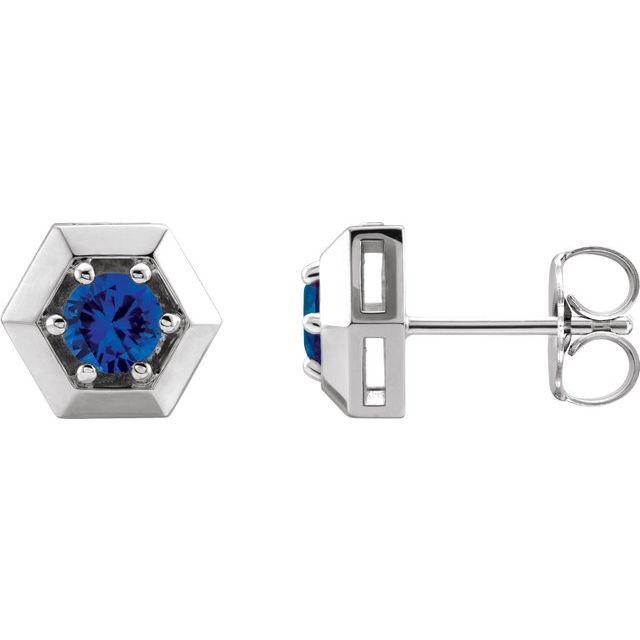 Sterling Silver Lab-Grown Blue Sapphire Geometric Earrings