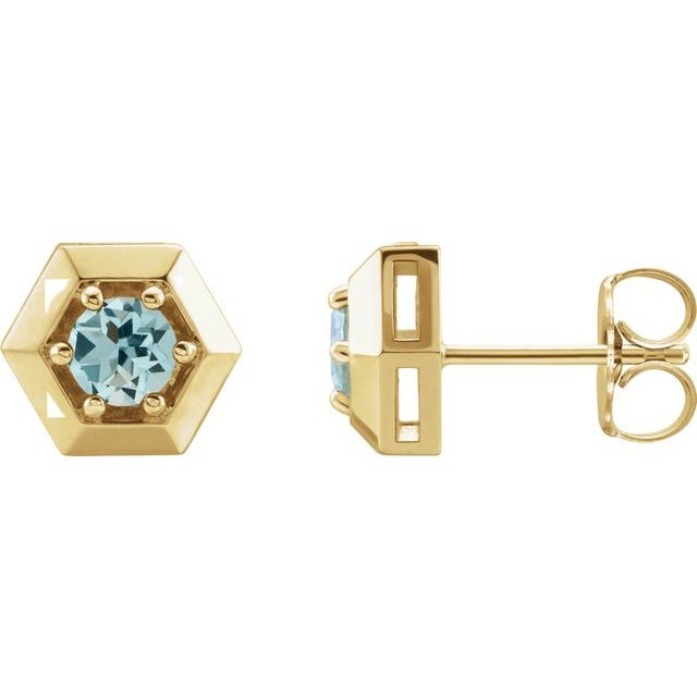 14K Yellow Aquamarine Geometric Earrings