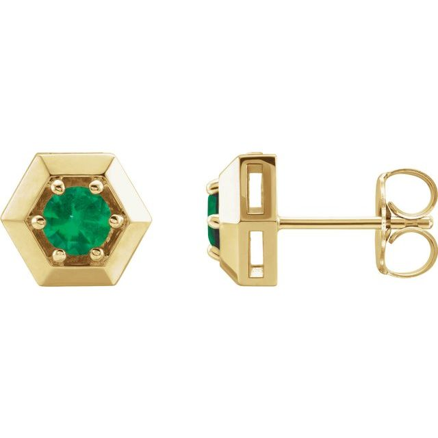 14K Yellow Emerald Geometric Earrings