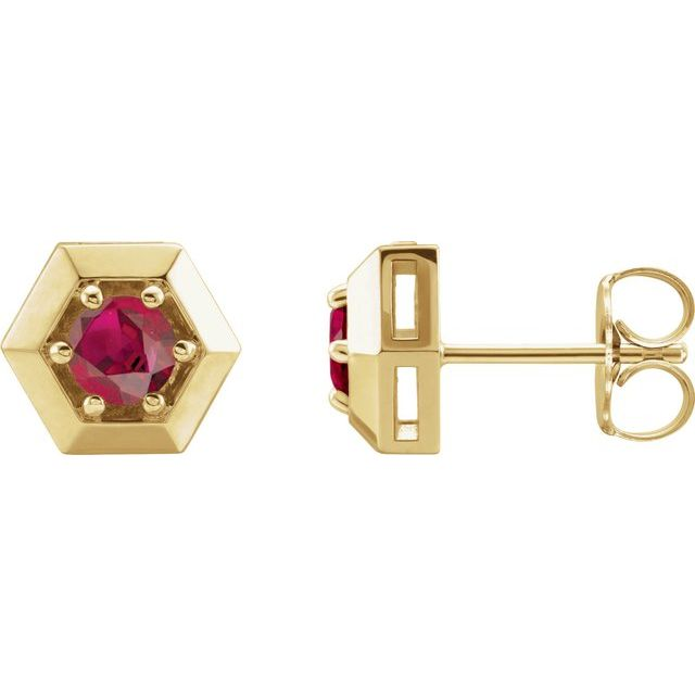 14K Yellow Chatham® Lab-Created Ruby Geometric Earrings