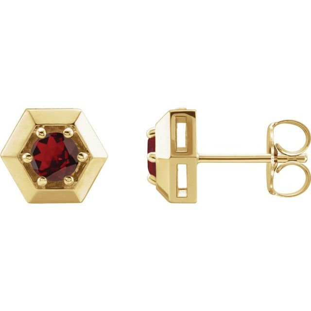 14K Yellow Mozambique Garnet Geometric Earrings