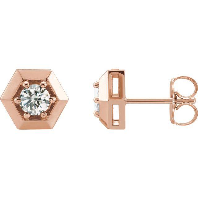 14K Rose 1/2 CTW Lab-Grown Diamond Earrings