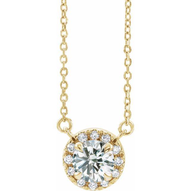 14K Yellow 3 mm Lab-Grown Diamond & .03 CTW Natural Diamond 18