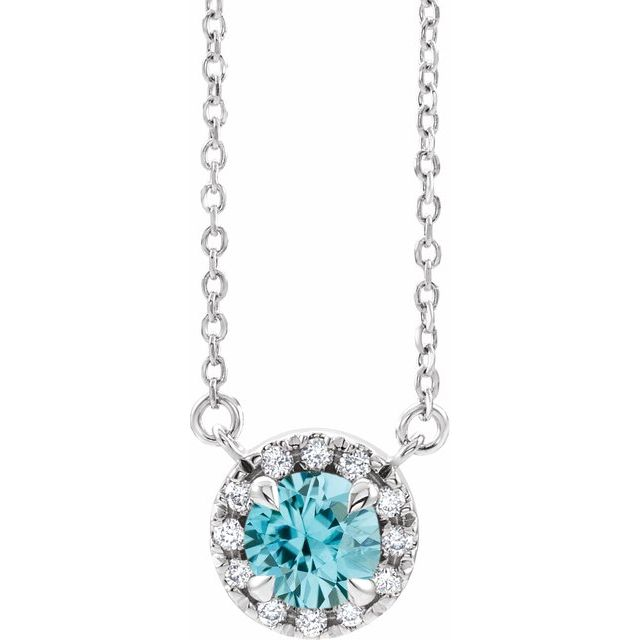 14K White 6 mm Natural Blue Zircon & 1/6 CTW Natural Diamond 16