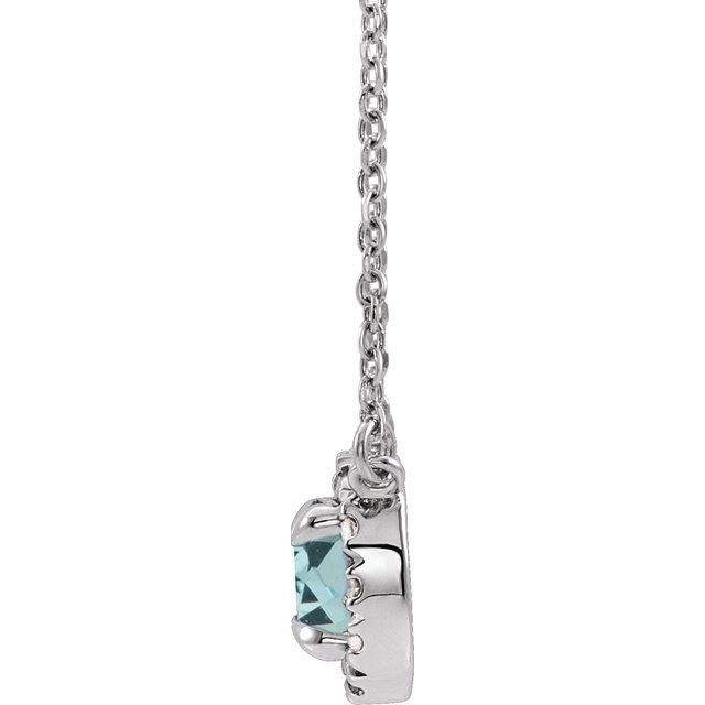 14K White 4.5 mm Natural Aquamarine & .05 CTW Natural Diamond 18