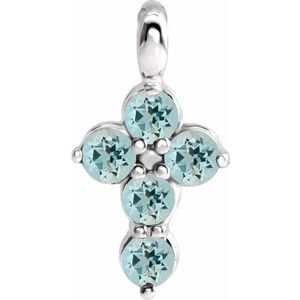 Sterling Silver Aquamarine Cross Pendant