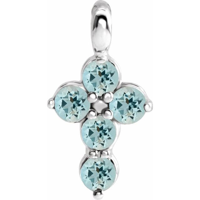 Sterling Silver Aquamarine Cross Pendant