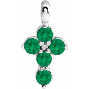 14K White Emerald Cross Pendant