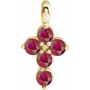 14K Yellow Chatham® Created Ruby Cross Pendant