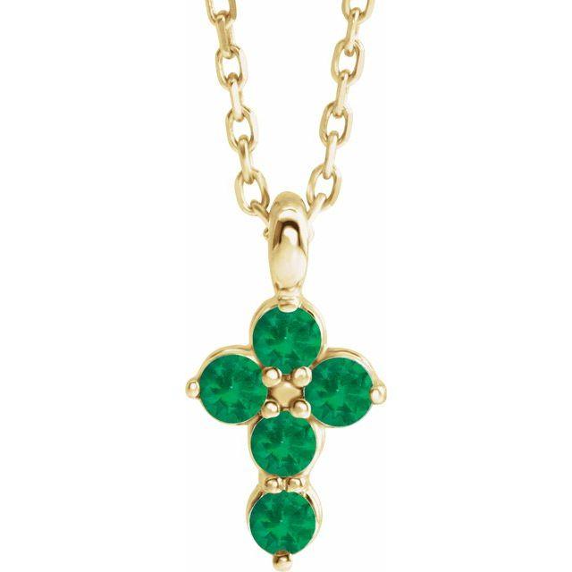 14K Yellow Emerald Cross 16-18