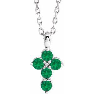 "14K White Emerald Cross 16-18"" Necklace"