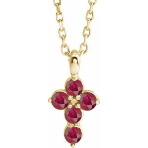 """14K Yellow Chatham® Created Ruby Cross 16-18"""" Necklace"""