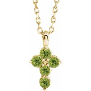 """14K Yellow Peridot Cross 16-18"""" Necklace"""