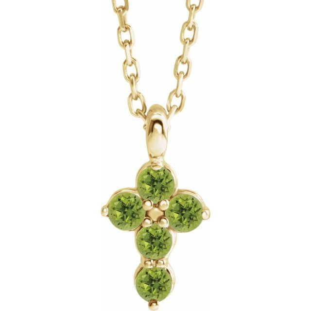 14K Yellow Peridot Cross 16-18