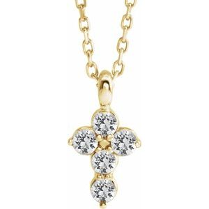 "14K Yellow White Sapphire Cross 16-18"" Necklace"