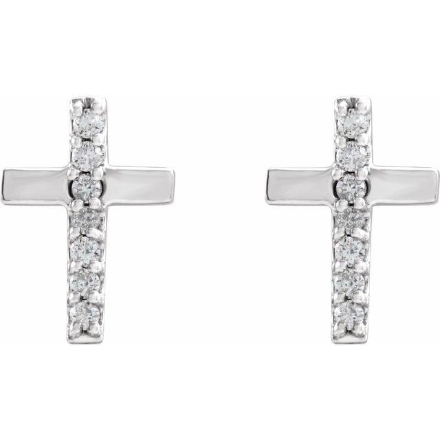 Sterling Silver .06 CTW Diamond Cross Earrings