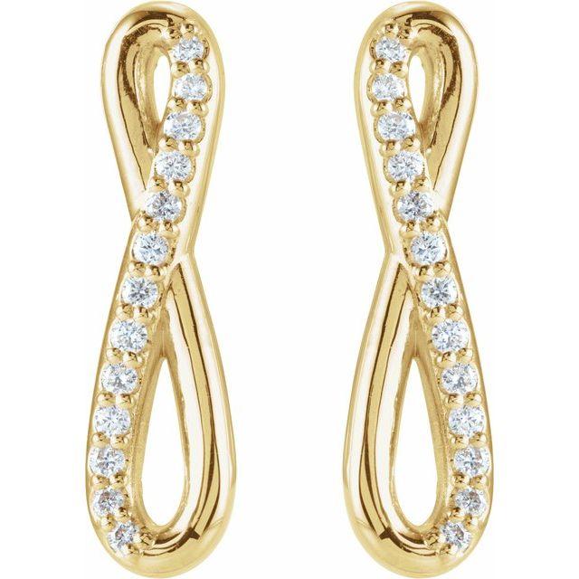 14K Yellow 1/8 CTW Diamond Infinity-Inspired Earrings
