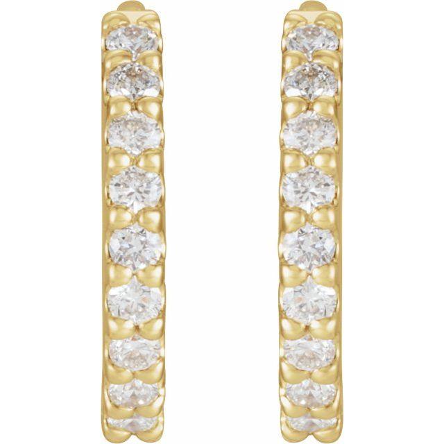 14K Yellow 1/4 CTW Diamond 10.32 mm Huggie Earrings