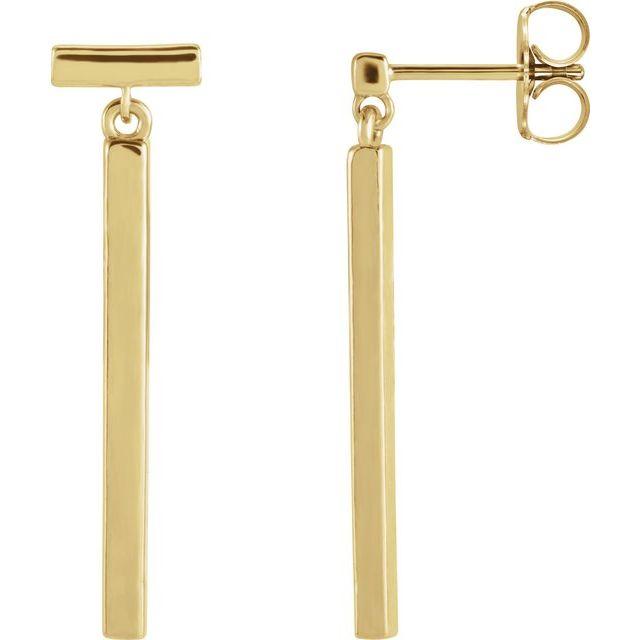 14K Yellow Articulated Bar Earrings